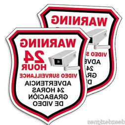 SECURITY CAMERA Video English Spanish Warning Decal Sticker