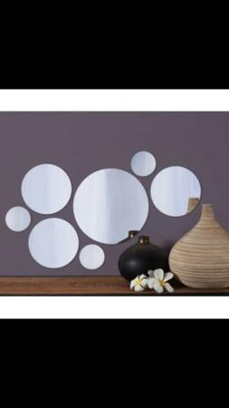 Elements Set of 7 Round Mirrors, 9 Inch , 6 Inch and 3 Inch