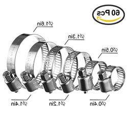 GTANG 60Pcs Adjustable Stainless Steel Worm Gear Hose Clamps