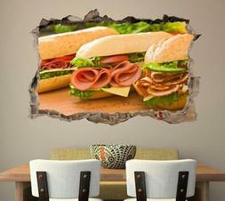 sub sandwich 3d smashed wall sticker decal