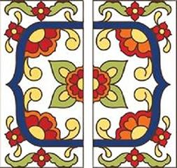 """TWO 3"""" X 6"""" Ceramic Tile Address House Numbers - Talavera Wh"""