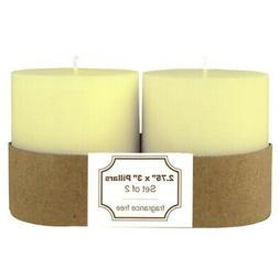 White Unscented 3x3 Inch Pillar Candle 2 Pack